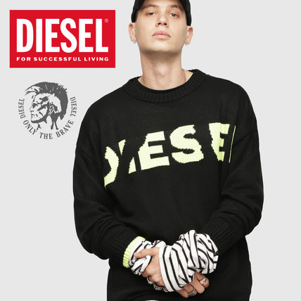 DIESEL Sweaters Crew Neck Pullovers Blended Fabrics Street Style Bi-color