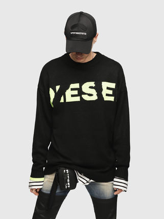 DIESEL Sweaters Crew Neck Pullovers Blended Fabrics Street Style Bi-color 5