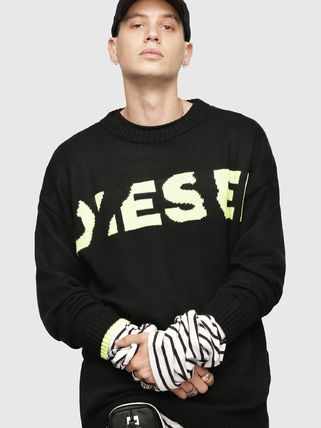 DIESEL Sweaters Crew Neck Pullovers Blended Fabrics Street Style Bi-color 6