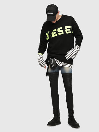 DIESEL Sweaters Crew Neck Pullovers Blended Fabrics Street Style Bi-color 7