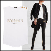 BALMAIN Sleeveless U-Neck Cotton Medium Tanks & Camisoles