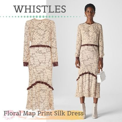 Flower Patterns Silk Party Style Dresses
