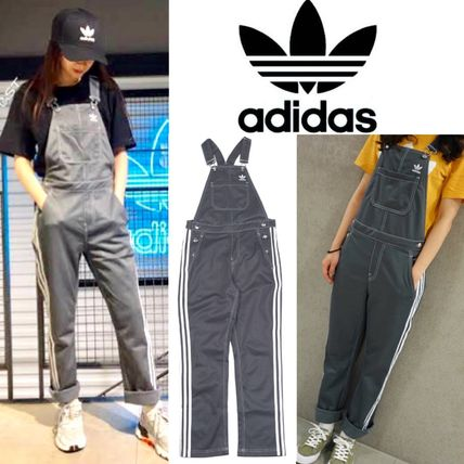 Dungarees Casual Style Street Style Plain Cotton Long