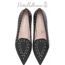 Pretty Ballerinas Studded Plain Leather Elegant Style Pointed Toe Shoes