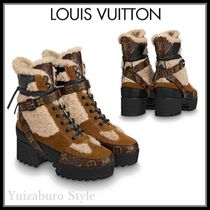 Louis Vuitton Monogram Rubber Sole Casual Style Plain Leather