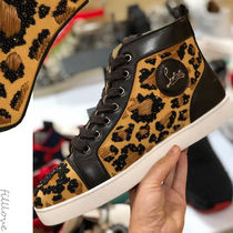 Christian Louboutin Leopard Patterns Blended Fabrics Street Style Leather