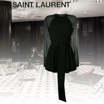 Saint Laurent Short Silk Long Sleeves Plain Dresses