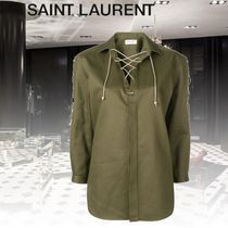 Saint Laurent Lace-up Casual Style Blended Fabrics Long Sleeves Plain