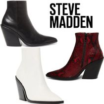 Steve Madden Plain Leather Block Heels Python Elegant Style