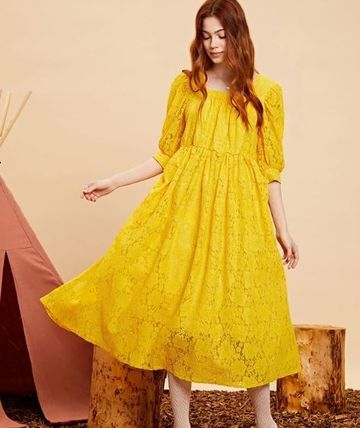 Flared Cropped Long Lace Dresses