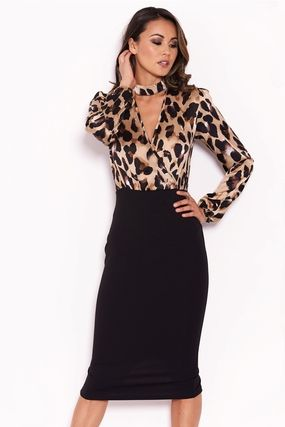 Leopard Patterns Casual Style Tight V-Neck Long Sleeves