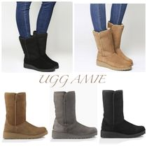 UGG Australia AMIE Plain Leather Flat Boots