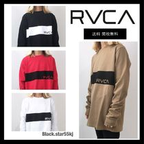 RVCA Crew Neck Unisex Street Style Long Sleeves Plain T-Shirts