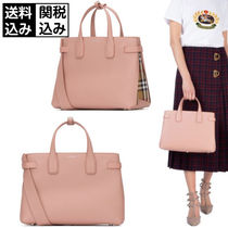 Burberry Other Check Patterns A4 Leather Elegant Style Totes