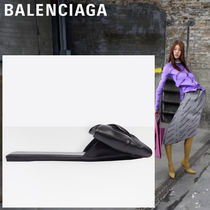BALENCIAGA Open Toe Leather Peep Toe Pumps & Mules