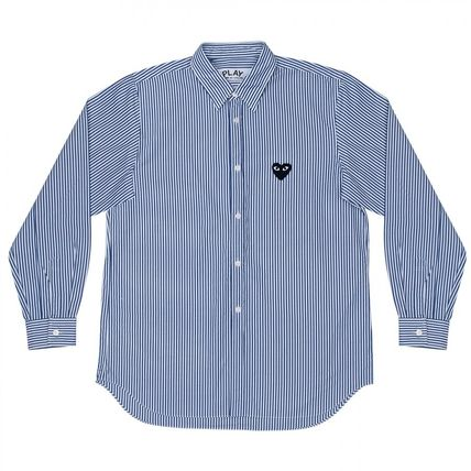 COMME des GARCONS Shirts Stripes Heart Unisex Street Style Long Sleeves Designers 2