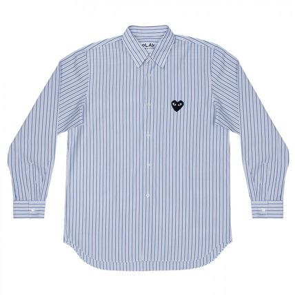 COMME des GARCONS Shirts Stripes Heart Unisex Street Style Long Sleeves Designers 3