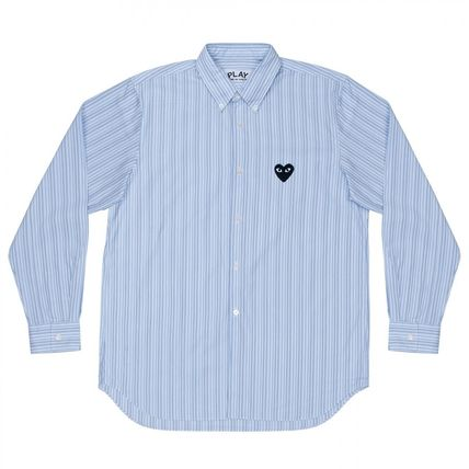COMME des GARCONS Shirts Stripes Heart Unisex Street Style Long Sleeves Designers 4