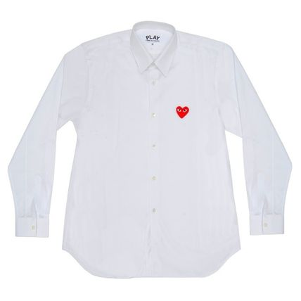 COMME des GARCONS Shirts Stripes Heart Unisex Street Style Long Sleeves Designers 5