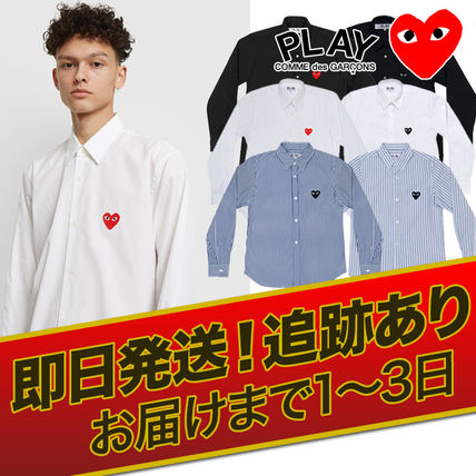 COMME des GARCONS Shirts Stripes Heart Unisex Street Style Long Sleeves Designers