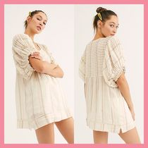 Free People Stripes Puffed Sleeves U-Neck Cotton Medium Tunics