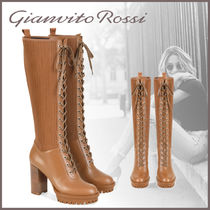 Gianvito Rossi Lace-up Leather Block Heels Lace-up Boots