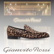 Gianvito Rossi Leopard Patterns Loafers Suede U Tips Loafers & Slip-ons