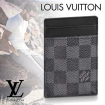 Louis Vuitton DAMIER GRAPHITE Other Check Patterns Canvas Blended Fabrics Card Holders