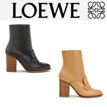 LOEWE Plain Leather Block Heels Loafer & Moccasin Shoes