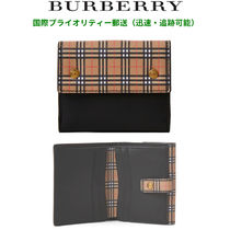 Burberry Other Check Patterns Unisex Blended Fabrics Plain Leather