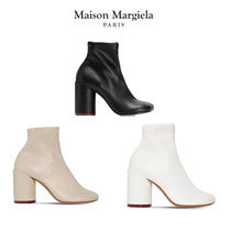 MM6 Maison Margiela Square Toe Faux Fur Blended Fabrics Plain Block Heels