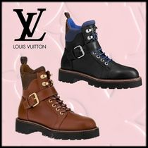 Louis Vuitton Monogram Plain Toe Mountain Boots Rubber Sole Lace-up