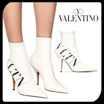 VALENTINO Casual Style Faux Fur Plain Pin Heels High Heel Boots