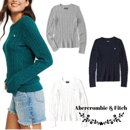 Crew Neck Long Sleeves Plain Cotton Sweaters