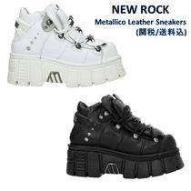 NEWROCK Platform Round Toe Leather Platform & Wedge Sneakers