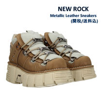 NEWROCK Platform Round Toe Lace-up Leather Platform & Wedge Sneakers