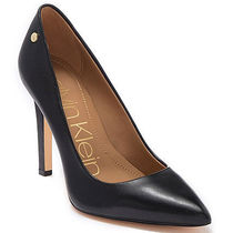 Calvin Klein Plain Leather Pin Heels Pointed Toe Pumps & Mules