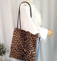 Leopard Patterns Suede A4 Shoppers