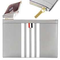 THOM BROWNE Stripes Leather Clutches