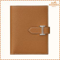 HERMES Bearn Unisex Calfskin Plain Folding Wallets