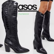 ASOS Cowboy Boots Casual Style Faux Fur Other Animal Patterns