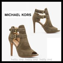 Michael Kors Open Toe Plain Leather Elegant Style Ankle & Booties Boots