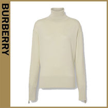 Burberry Blended Fabrics Long Sleeves Plain Sweaters