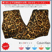 Calvin Klein Leopard Patterns Casual Style Wedge Boots