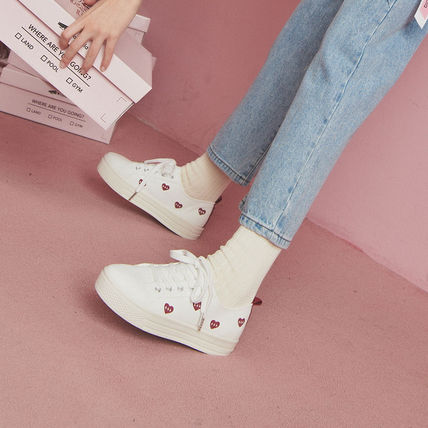 Heart Platform Round Toe Casual Style Blended Fabrics