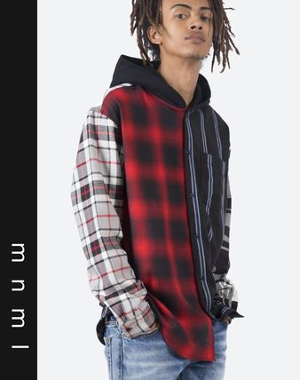 MNML Shirts Stripes Other Plaid Patterns Street Style Long Sleeves