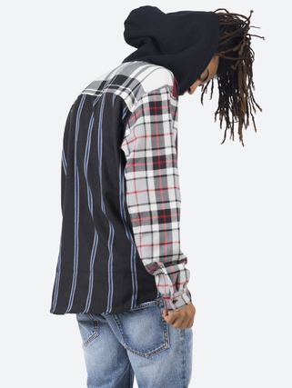 MNML Shirts Stripes Other Plaid Patterns Street Style Long Sleeves 2