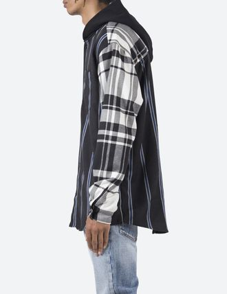 MNML Shirts Stripes Other Plaid Patterns Street Style Long Sleeves 3