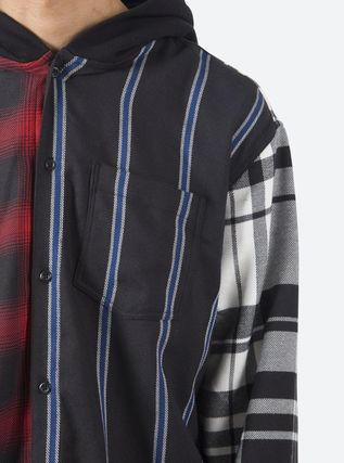 MNML Shirts Stripes Other Plaid Patterns Street Style Long Sleeves 5