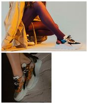 DATE Rubber Sole Casual Style Leather Python Logo